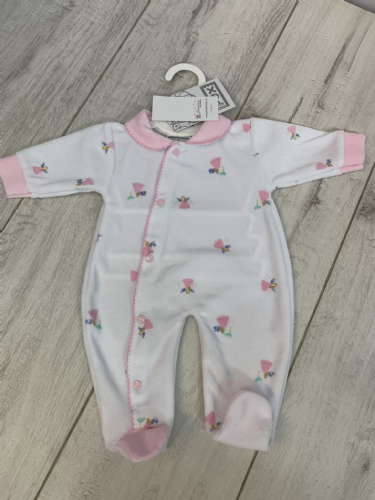 White Velour Sleepsuit with Pink Collar and Fairy's